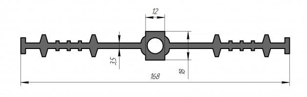 ГидроКонтур ЦДР-168К12 (ЭПДМ-резина) Центральная деформационная шпонка