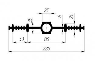 ГидроКонтур ЦДР-220К25 (ЭПДМ-резина) Центральная деформационная шпонка